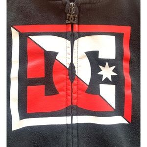 DC Shirts & Tops - DC black & red zip up hoodie Junior size Medium M